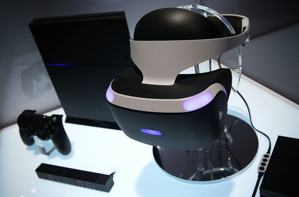 LAS VEGAS, NV - JANUARY 05: A reference model of the Sony PlayStation VR viewer is on display with a PlayStation 4 System during a press event for CES 2016 at the Mandalay Bay Convention Center on January 5, 2016 in Las Vegas, Nevada. CES, the world's largest annual consumer technology trade show, runs from January 6-9 and is expected to feature 3,600 exhibitors showing off their latest products and services to more than 150,000 attendees. (Photo by Alex Wong/Getty Images)