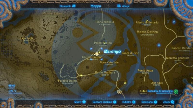Zelda Breath of the Wild cavallo bianco collina Salufan mappa Gamempire